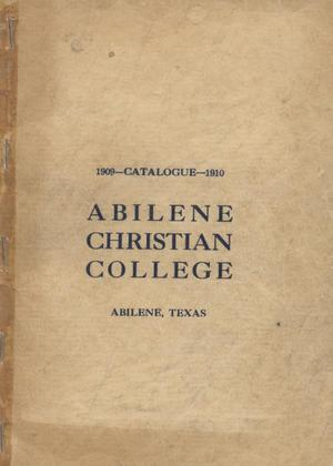 Primary view of object titled 'Catalog of Abilene Christian College, 1909-1910'.