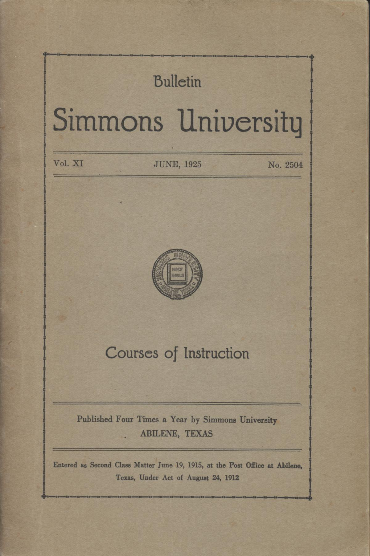 Simmons University, Courses of Instruction 1925-1926                                                                                                      Front Cover