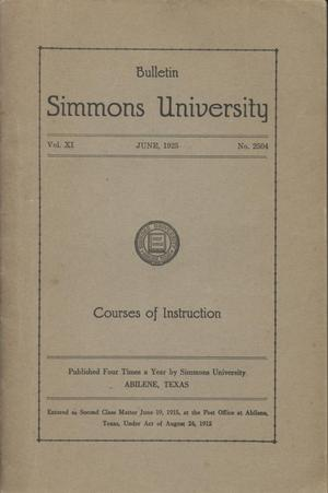 Primary view of object titled 'Simmons University, Courses of Instruction 1925-1926'.