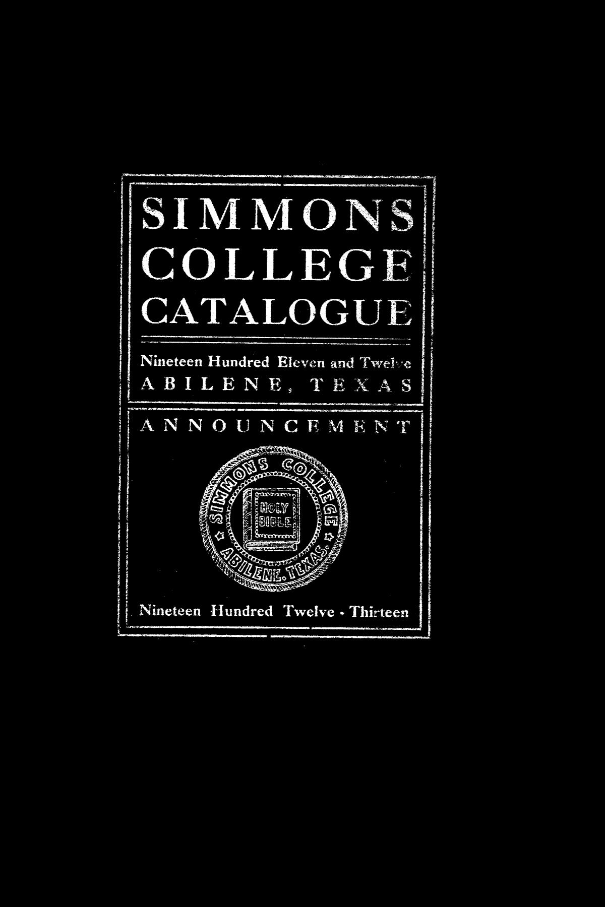 Catalogue of Simmons College, 1911-1912                                                                                                      Front Cover