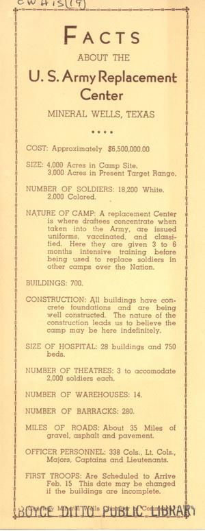 Primary view of object titled 'Facts about the U. S. Army Replacement Center, Mineral Wells, Texas'.