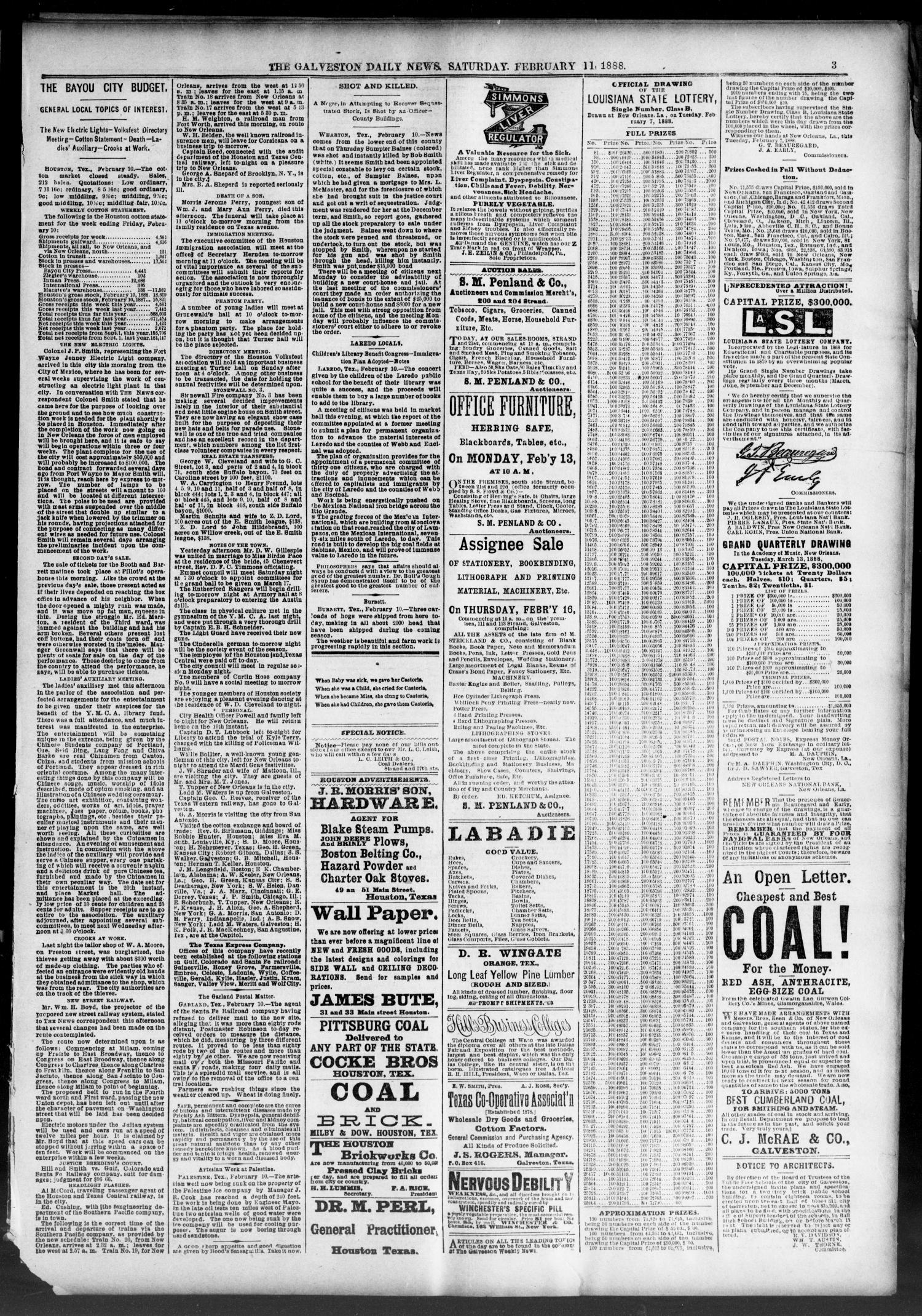 The Galveston Daily News. (Galveston, Tex.), Vol. 46, No. 291, Ed. 1 Saturday, February 11, 1888                                                                                                      [Sequence #]: 3 of 8