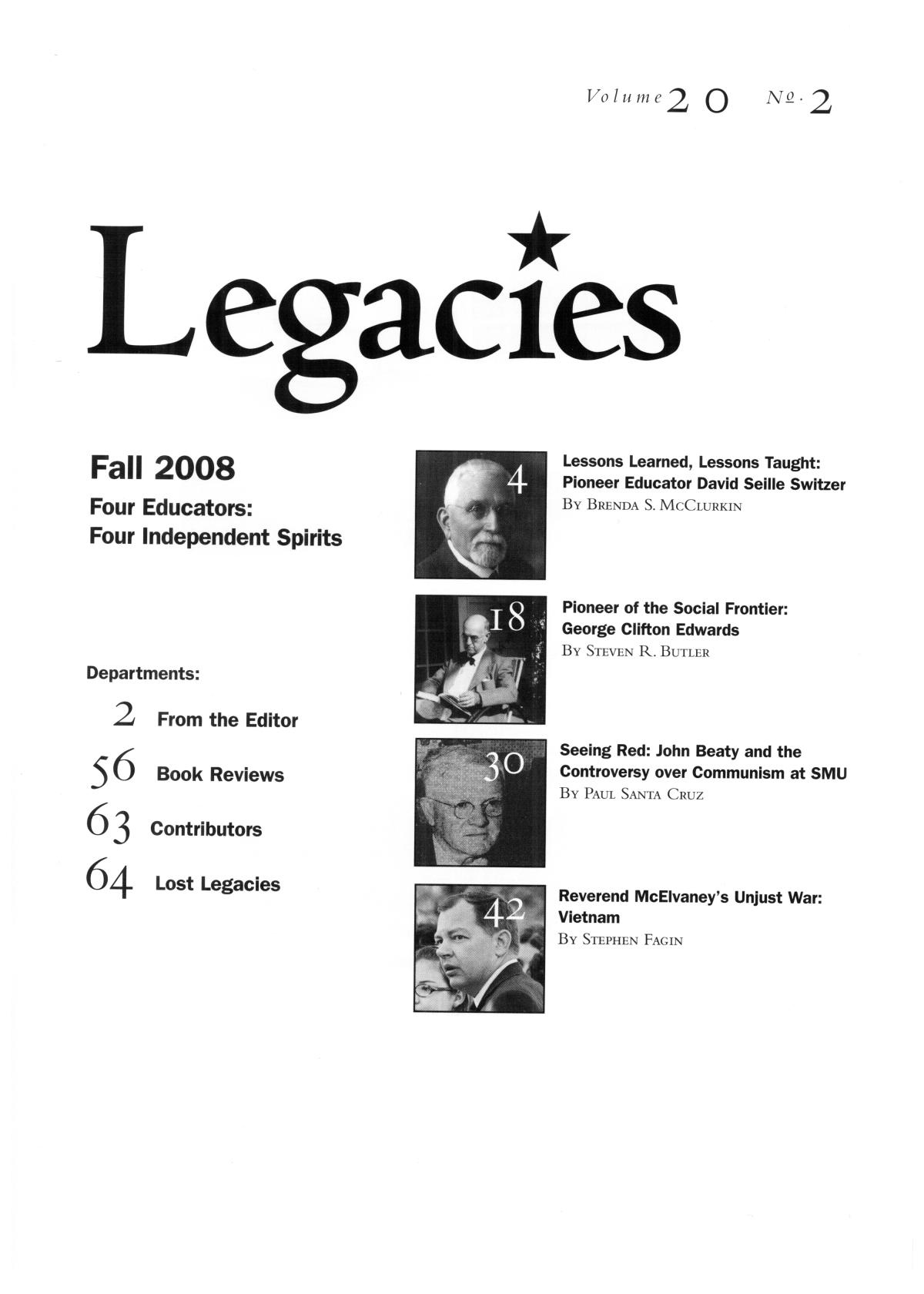 Legacies: A History Journal for Dallas and North Central Texas, Volume 20, Number 2, Fall, 2008                                                                                                      [Sequence #]: 3 of 68
