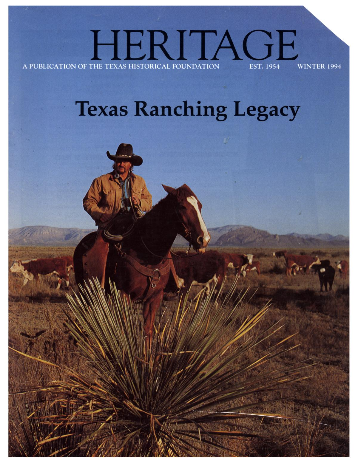 Heritage, Volume 12, Number 1, Winter 1994                                                                                                      Front Cover