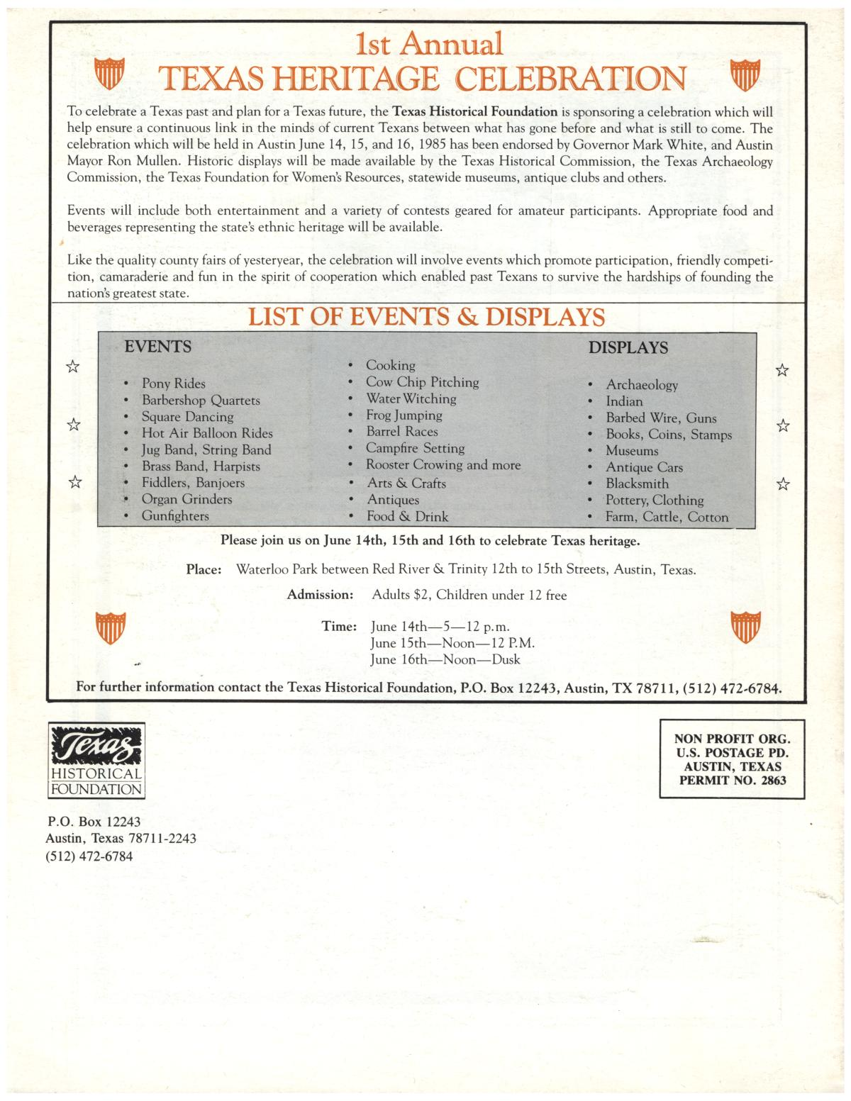 Texas Heritage, Volume 2, Number 2, Spring 1985                                                                                                      Back Cover