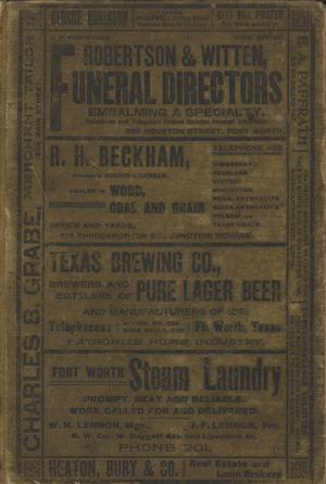 City Directory of Fort Worth, Texas.  1898-1899
