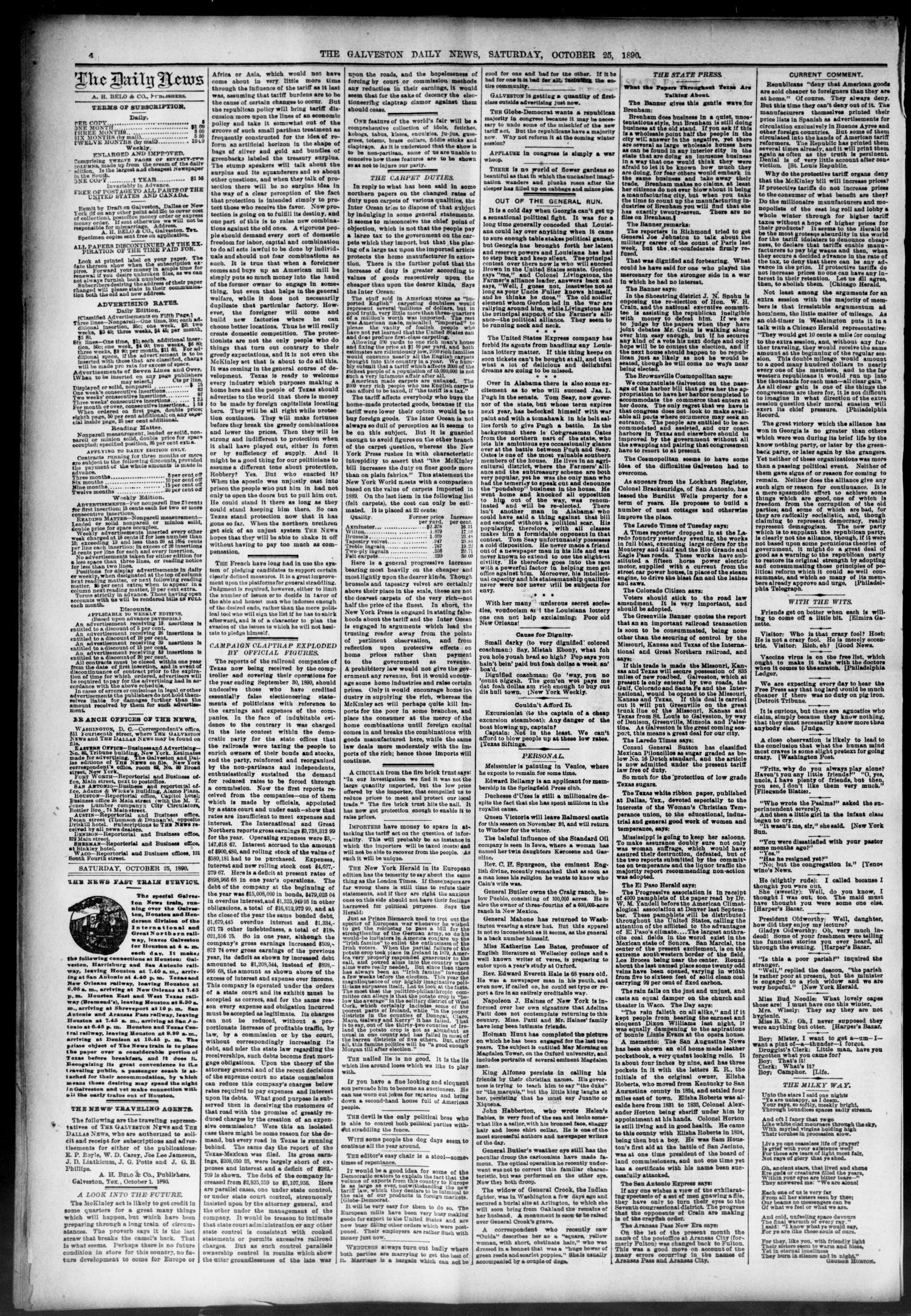 The Galveston Daily News. (Galveston, Tex.), Vol. 49, No. 179, Ed. 1 Saturday, October 25, 1890                                                                                                      [Sequence #]: 4 of 8