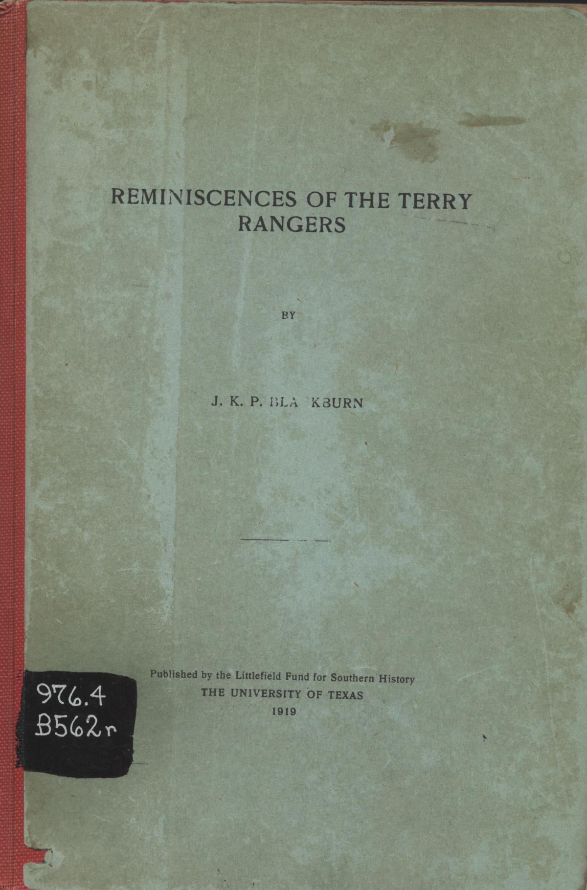 Reminiscences of the Terry Rangers                                                                                                      Front Cover