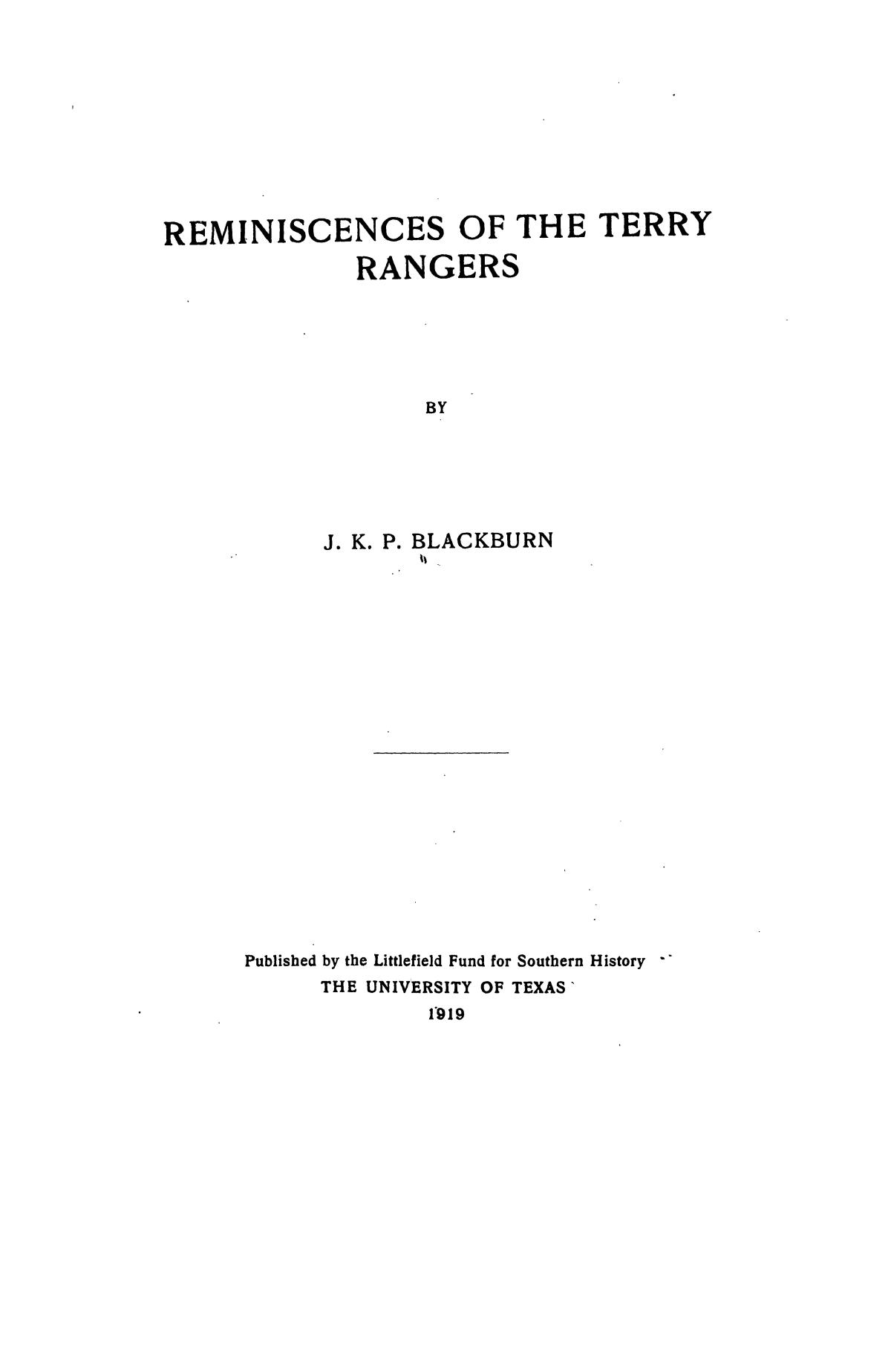 Reminiscences of the Terry Rangers                                                                                                      I