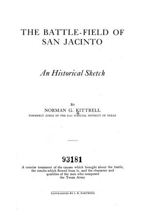 The Battle-Field of San Jacinto : An Historical Sketch