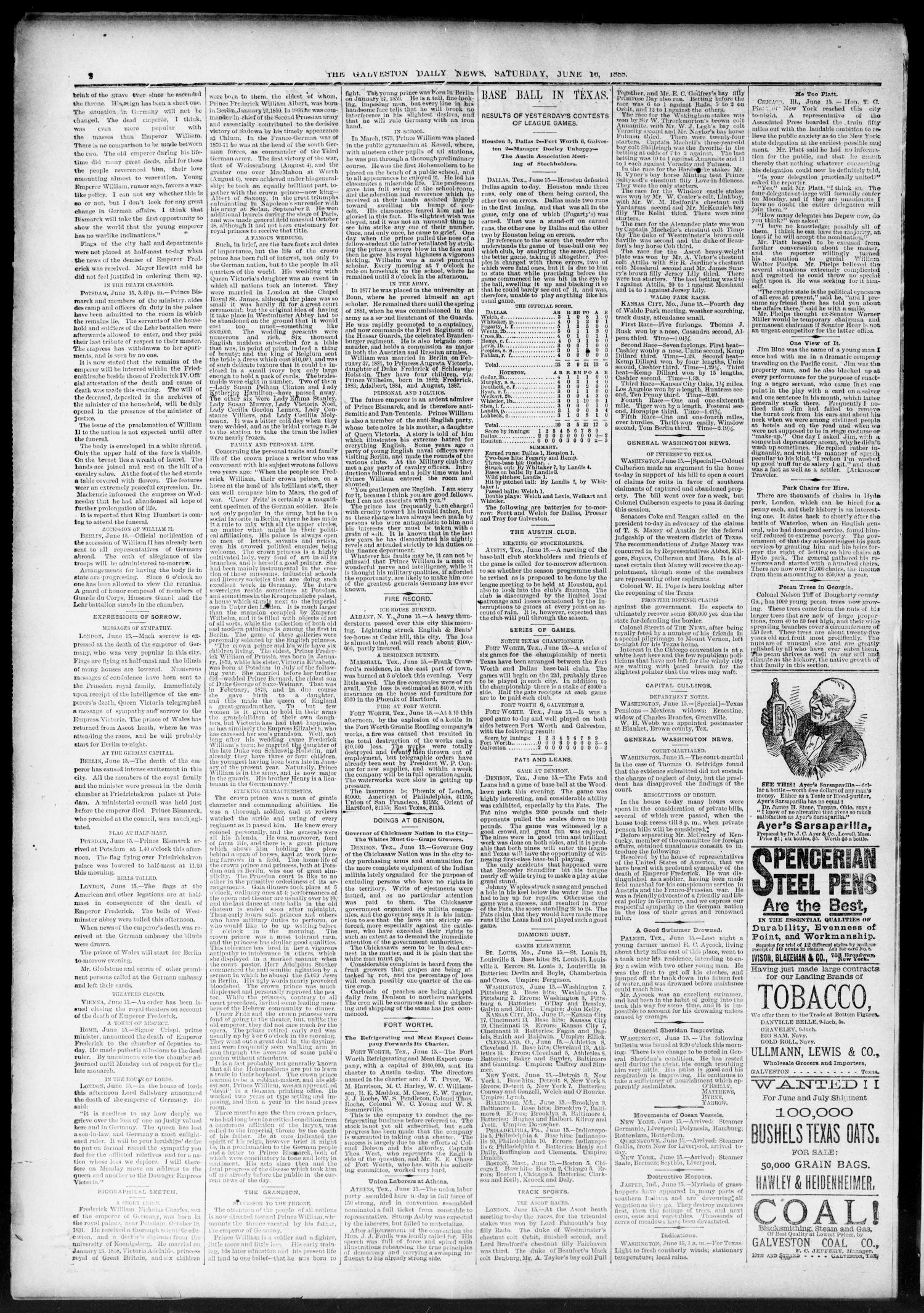 The Galveston Daily News. (Galveston, Tex.), Vol. 47, No. 51, Ed. 1 Saturday, June 16, 1888                                                                                                      [Sequence #]: 2 of 8
