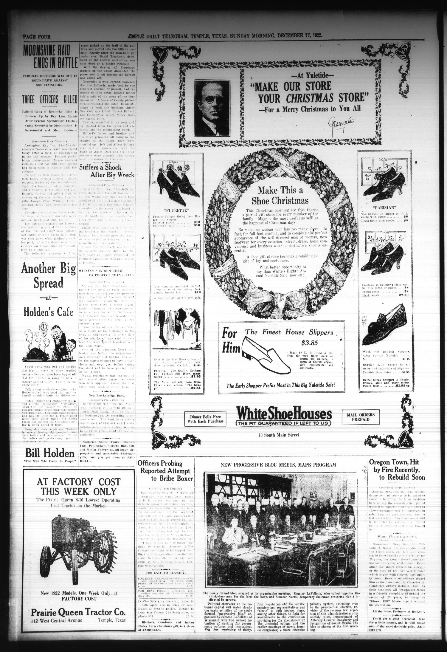 Temple Daily Telegram (Temple, Tex.), Vol. 16, No. 25, Ed. 1 Sunday, December 17, 1922                                                                                                      [Sequence #]: 4 of 28