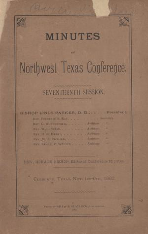 Primary view of object titled 'Minutes of Northwest Texas Conference, Seventeenth Session.'.