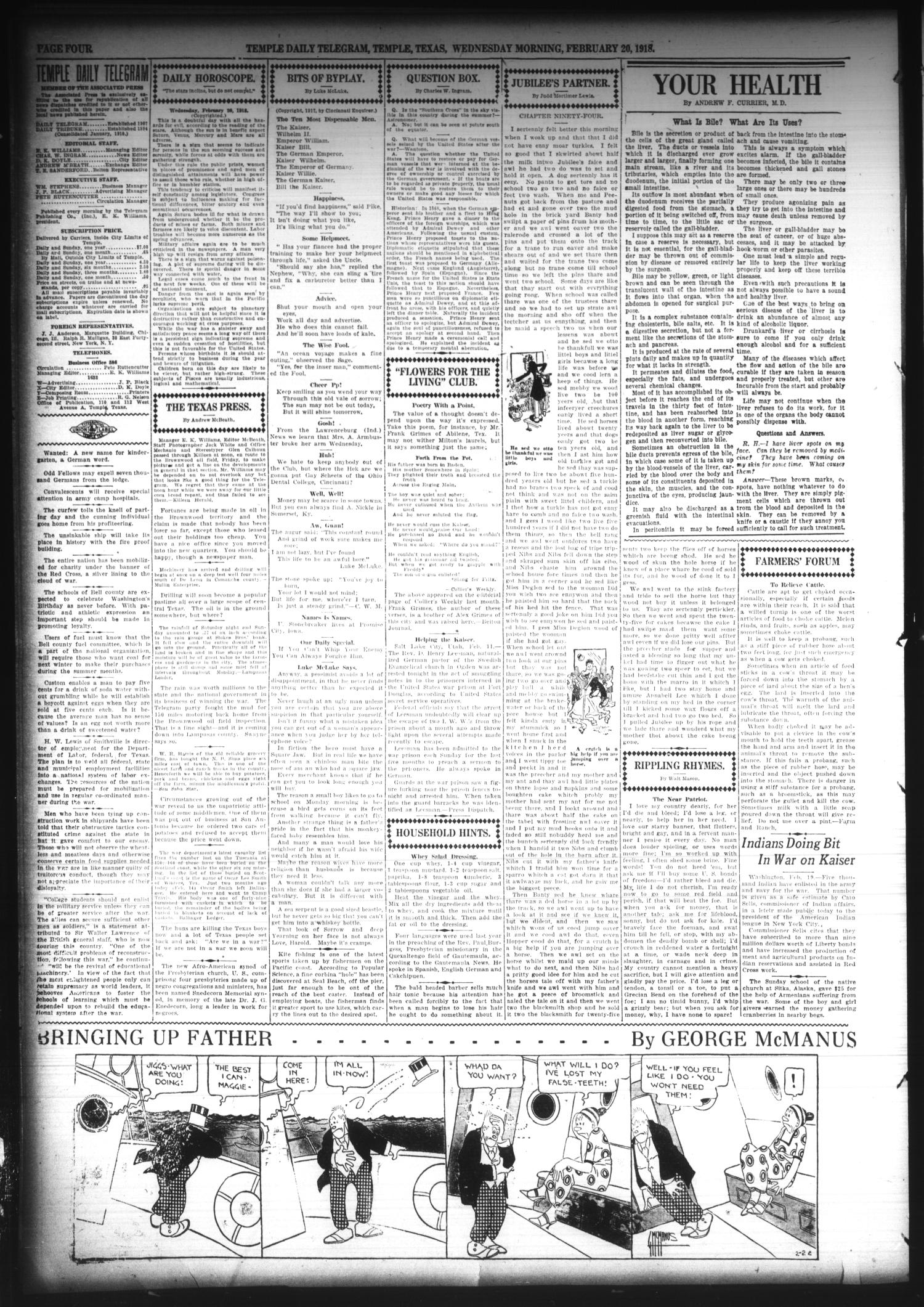 Temple Daily Telegram (Temple, Tex.), Vol. 11, No. 93, Ed. 1 Wednesday, February 20, 1918                                                                                                      [Sequence #]: 4 of 16