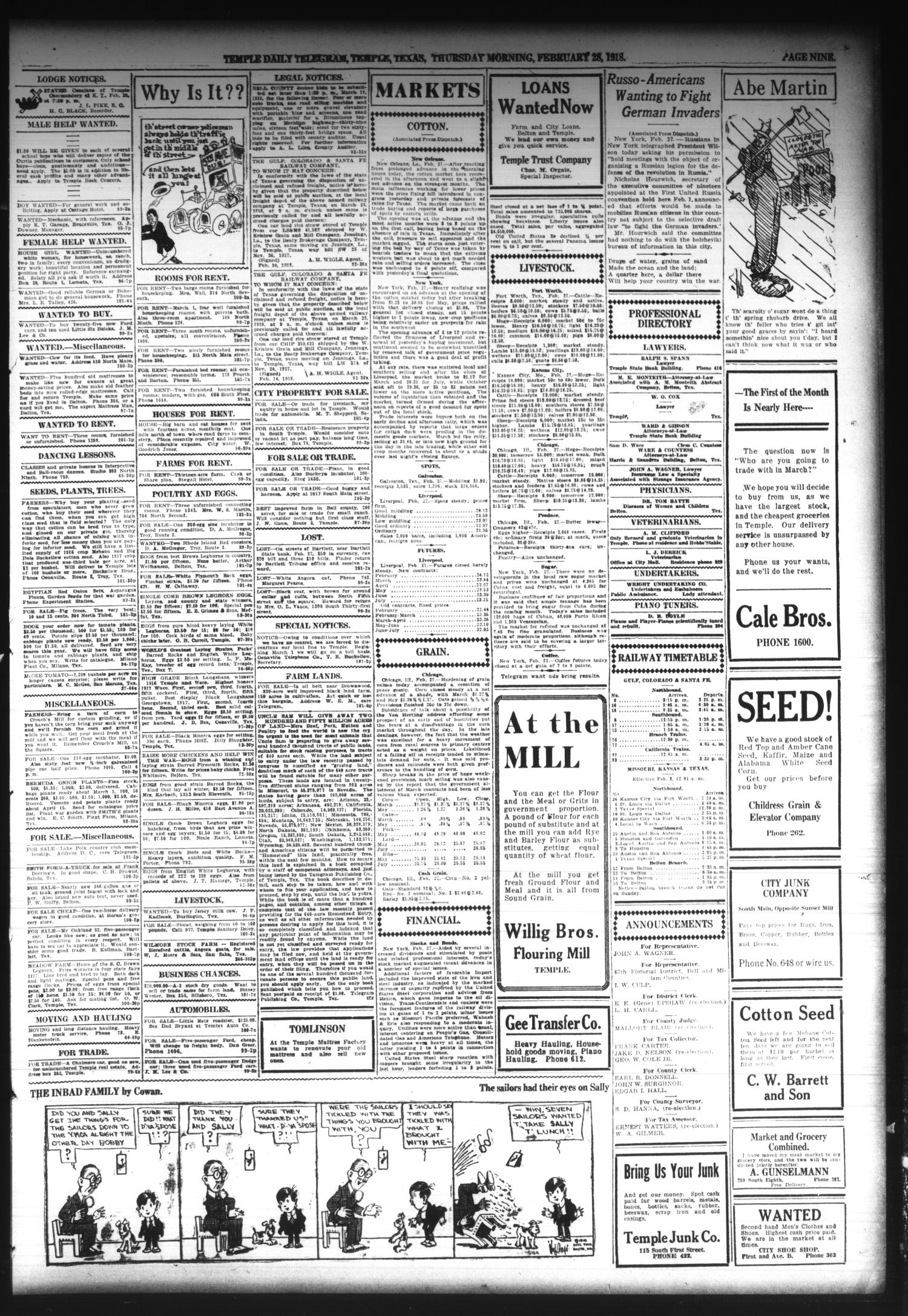 Temple Daily Telegram (Temple, Tex.), Vol. 11, No. 101, Ed. 1 Thursday, February 28, 1918                                                                                                      [Sequence #]: 9 of 10
