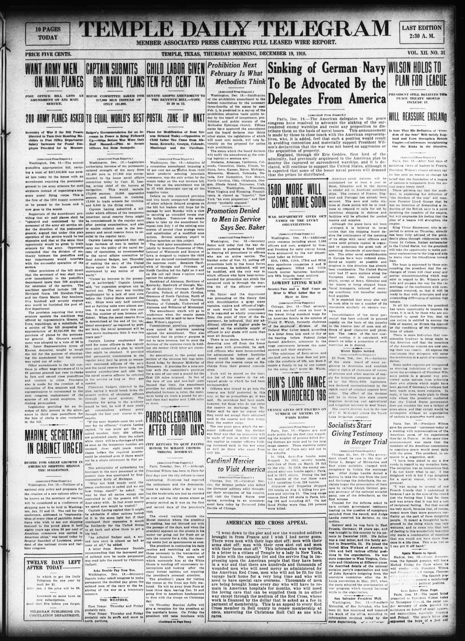 Temple Daily Telegram (Temple, Tex.), Vol. 12, No. 31, Ed. 1 Thursday, December 19, 1918                                                                                                      [Sequence #]: 1 of 10