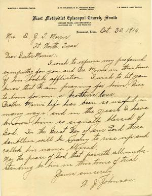 Letter from W.J. Johnson to Mrs. Isaac Zachary Taylor Morris (Isabella ...