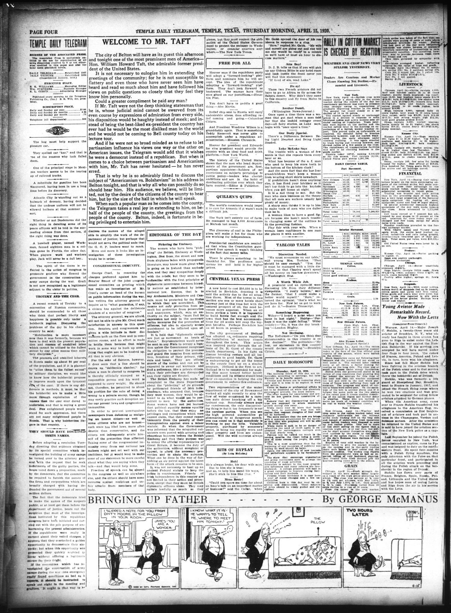 Temple Daily Telegram (Temple, Tex.), Vol. 13, No. 148, Ed. 1 Thursday, April 15, 1920                                                                                                      [Sequence #]: 4 of 10
