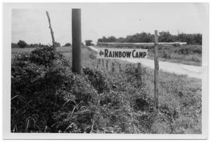 Primary view of object titled '[Rainbow Camp Sign]'.