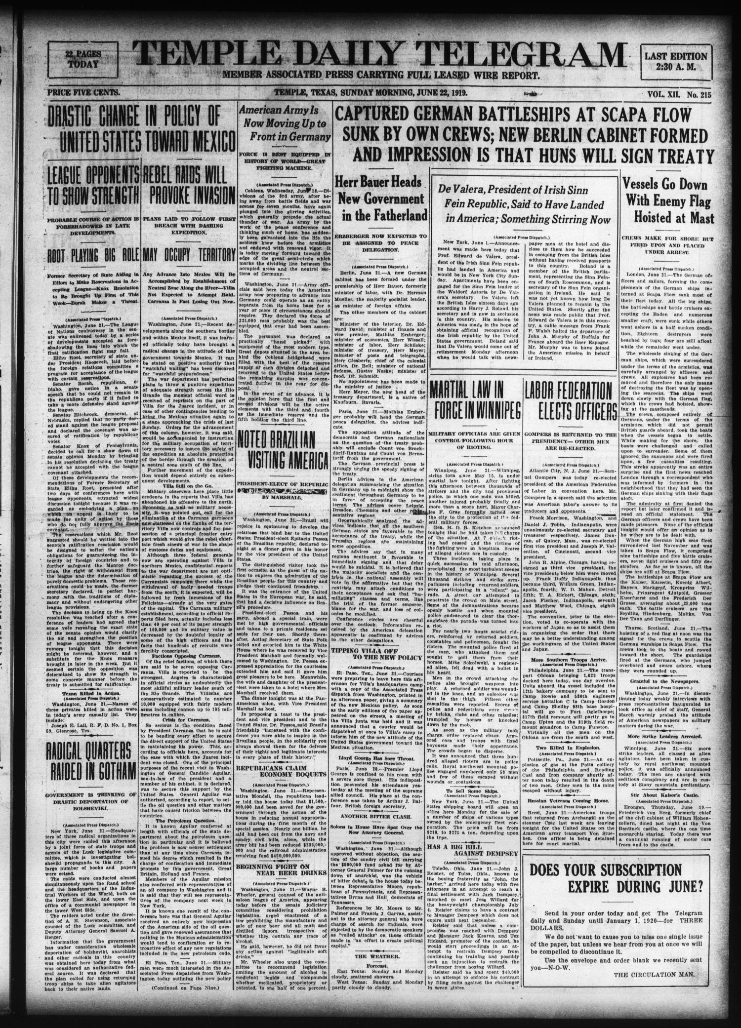 Temple Daily Telegram (Temple, Tex.), Vol. 12, No. 215, Ed. 1 Sunday, June 22, 1919                                                                                                      [Sequence #]: 1 of 22