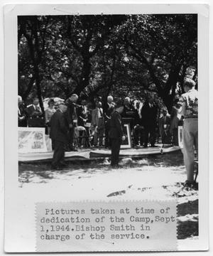 Primary view of object titled '[Group of people at a dedication]'.