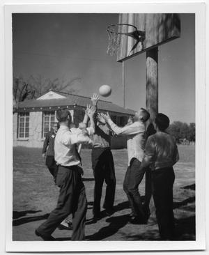 Primary view of object titled '[Group playing basketball at Glen Lake Camp]'.