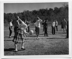 Primary view of object titled '[Group playing volleyball at Glen Lake Camp]'.