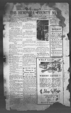 Primary view of object titled 'The Hemphill County News (Canadian, Tex), Vol. 1, No. 27, Ed. 1, Friday, March 10, 1939'.
