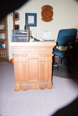 Primary view of object titled '[Desk in an Office]'.