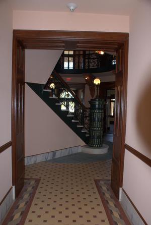 Primary view of object titled '[Staircase Seen Through Open Doors]'.