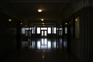 Primary view of object titled '[Photograph of a Darkened Hallway]'.