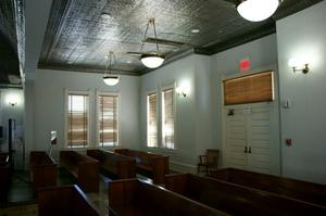 Primary view of object titled '[Darkened Courtroom]'.
