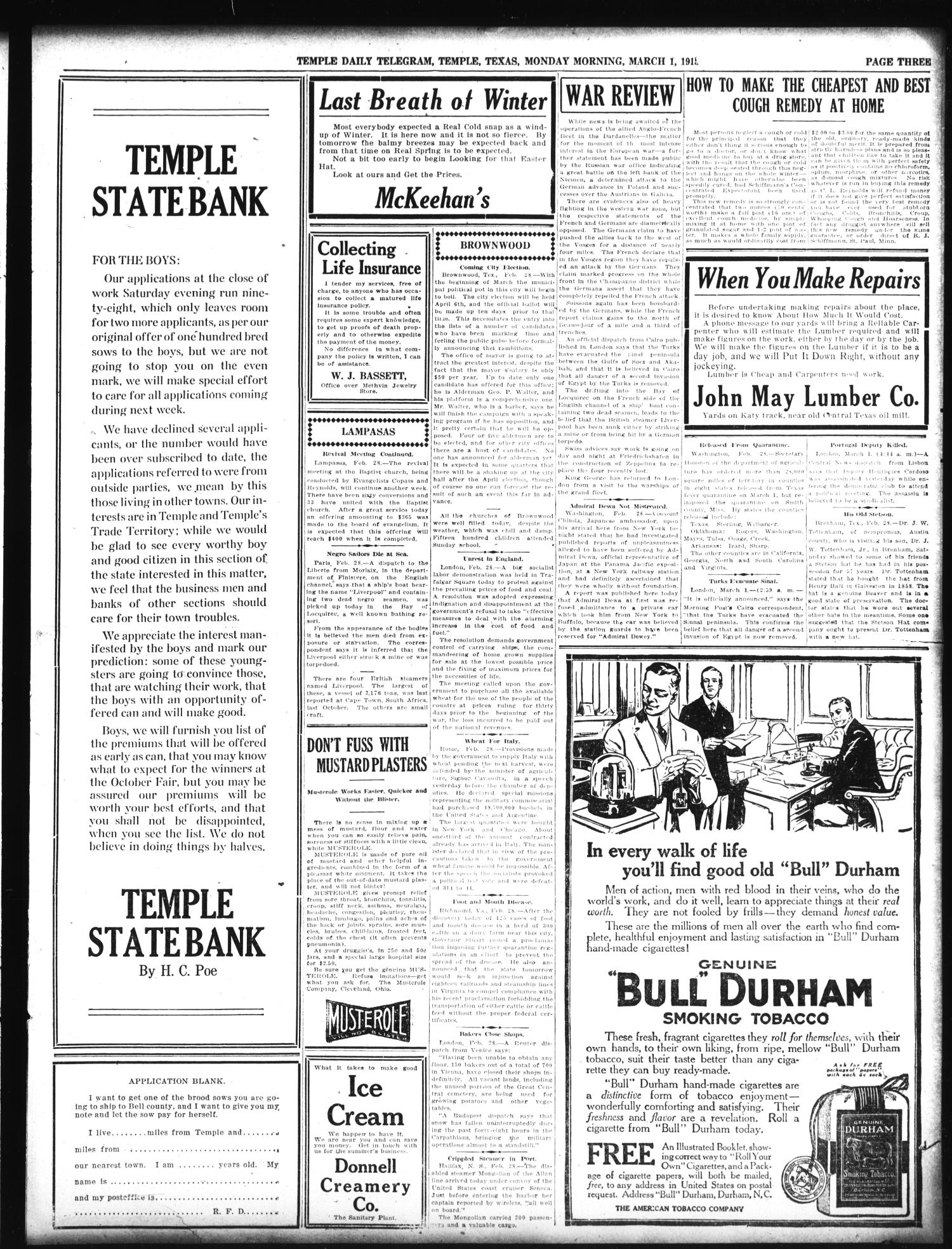 Temple Daily Telegram (Temple, Tex.), Vol. 8, No. 104, Ed. 1 Monday, March 1, 1915                                                                                                      [Sequence #]: 3 of 10