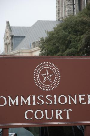 Primary view of object titled '[Close-Up of Commissioners' Court Sign]'.