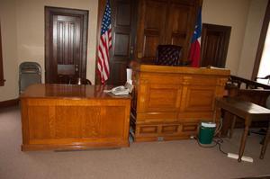 Desks at Front of Courtroom