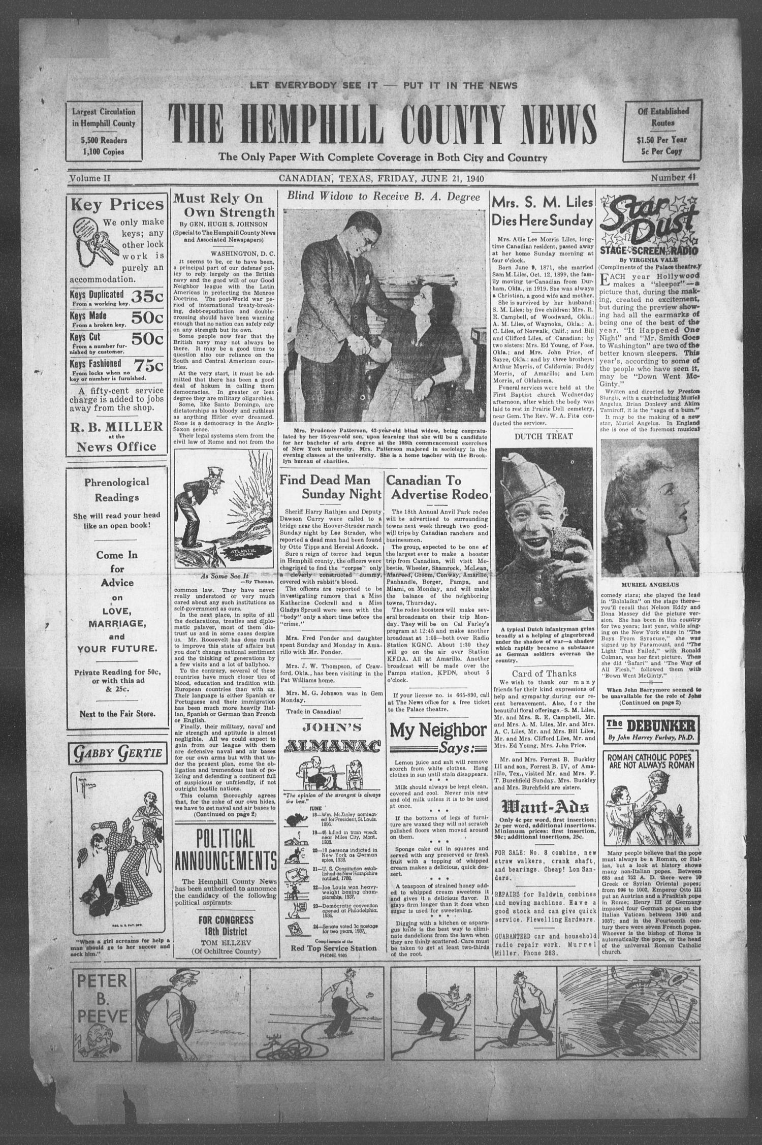The Hemphill County News (Canadian, Tex), Vol  2, No  41, Ed