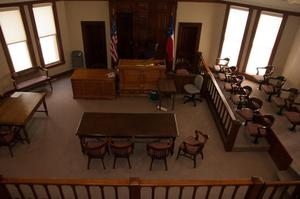 Primary view of object titled '[Bird's Eye View of Courtroom]'.