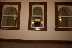 Primary view of object titled '[Three Windows in Courthouse]'.