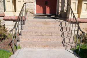 Primary view of object titled '[Photograph of Steps Outside Courthouse]'.