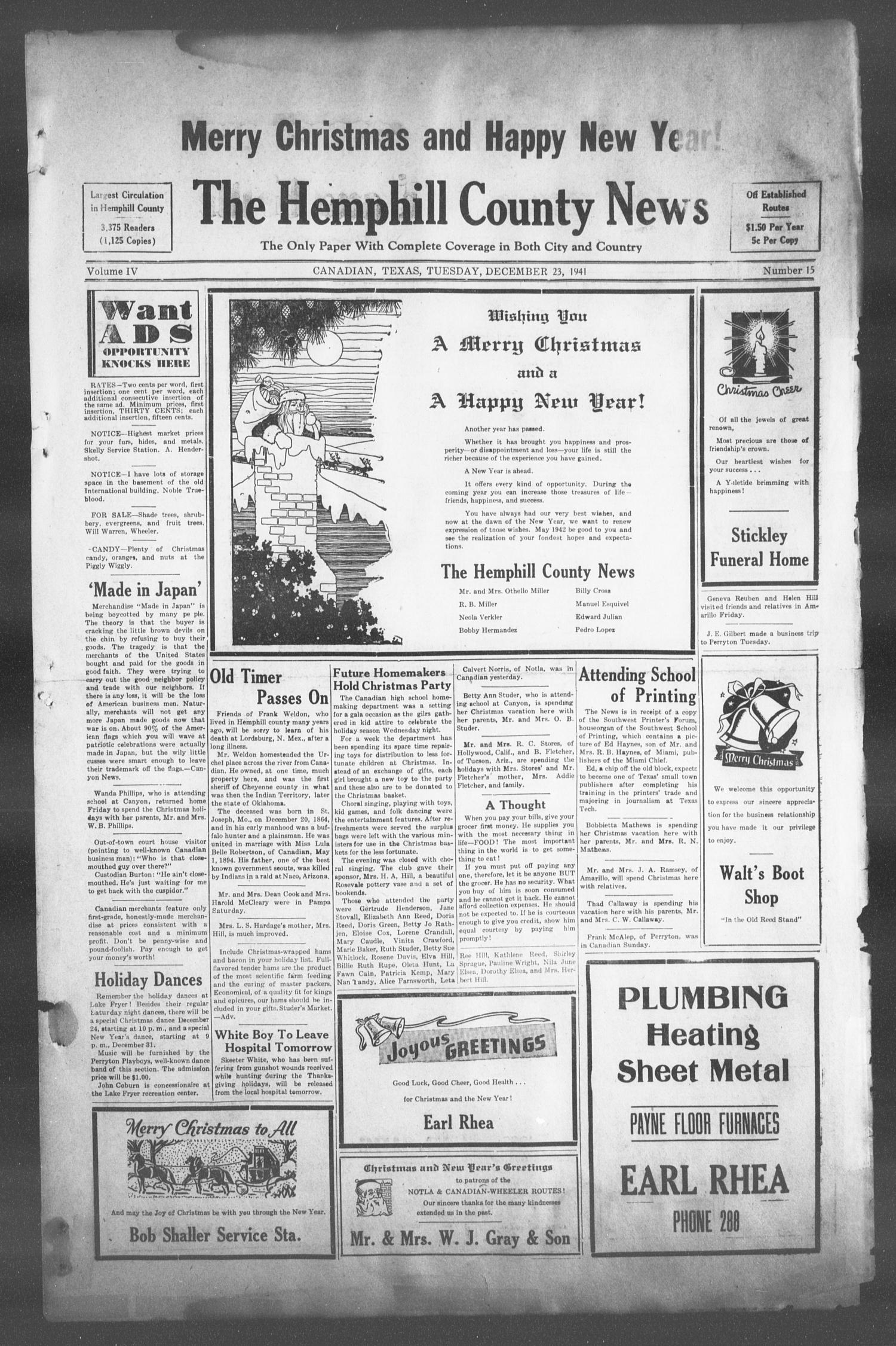 The Hemphill County News (Canadian, Tex), Vol. 4, No. 15, Ed. 1, Tuesday, December 23, 1941                                                                                                      1