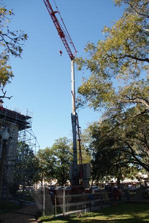 Primary view of object titled '[Crane Outside Courthouse]'.