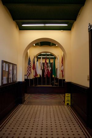 Primary view of object titled '[Flags at End of Hall]'.