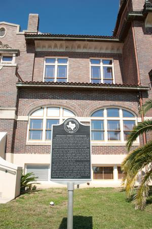 Primary view of object titled '[Plaque in Front of Atascosa County Courthouse]'.