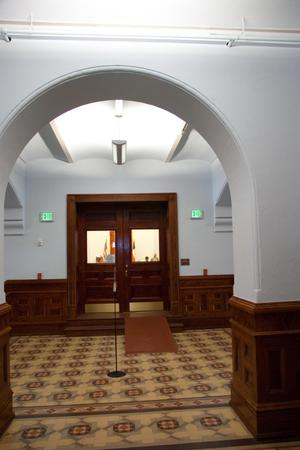 Primary view of object titled '[Doors to Courtroom]'.