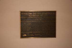 Primary view of object titled '[Plaque for the Atascosa County Courthouse Restoration Project]'.