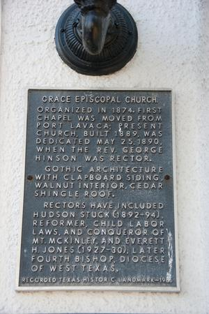 Primary view of object titled '[Plaque at Grace Episcopal Church]'.