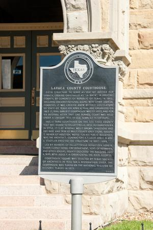 Primary view of object titled '[Plaque at Lavaca County Courthouse]'.