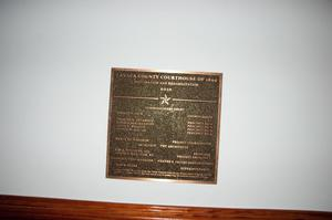 Primary view of object titled '[Photograph of a Courthouse Restoration Plaque]'.