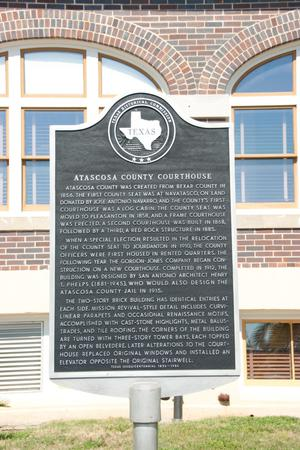 Primary view of object titled '[Plaque at Atascosa County Courthouse]'.