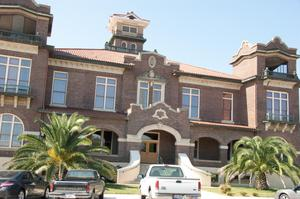 Primary view of object titled '[Front of the Atascosa County Courthouse]'.